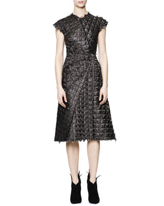Cap-Sleeve Wavy Rhombus-Texture Dress, Black/White