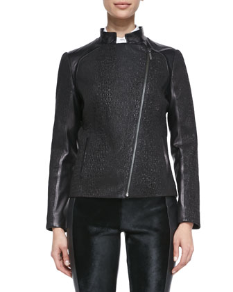 Puckered Stretch Leather Moto Jacket, Short-Puff-Sleeve Tuxedo Blouse & ...