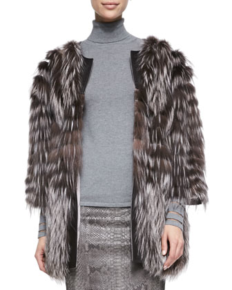 3/4-Sleeve Fox Fur/Tulle Coat & Python-Print Leather Pencil Skirt