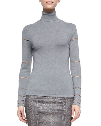 Long-Sleeve Tulle Insert Turtleneck Top