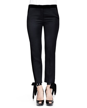 Grain de Poudre Pants with Velvet, Black