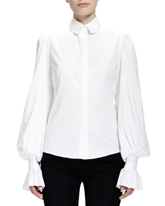 Peter Pan-Collared Blouse, White