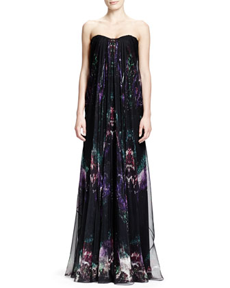 Feather-Print Strapless Chiffon Gown, Black/Multi