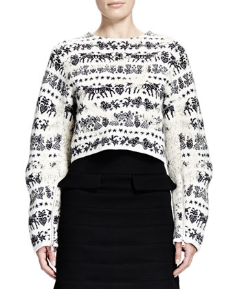Naive Fair Isle Cropped Zip-Sleeve Sweater & Horizontal Seam Scuba Weave ...