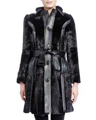 Mid-Length Marmot Fur Coat, Noir