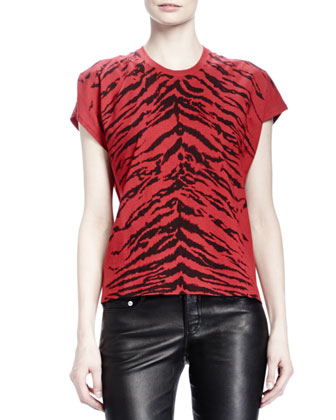 Short-Sleeve Zebra-Print T-Shirt & Leather Skinny Pants