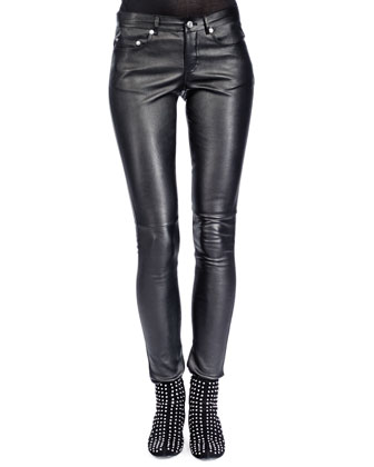 Leather Skinny Pants, Noir