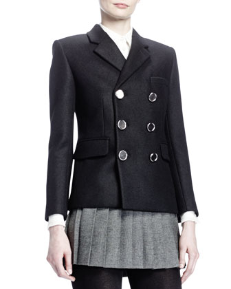 Double-Breasted 6-Button Coat, Noir