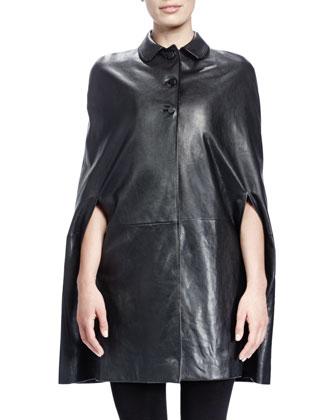 Collared Leather Cape & Velvet V-Neck Crystal-Empire-Waist Dress