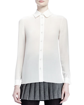 Double-Breasted 6-Button Coat, Collared Silk Georgette Blouse & Pleated ...