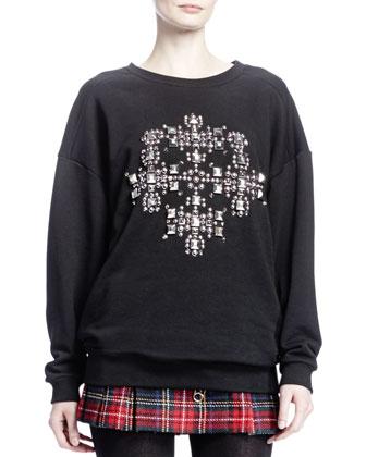 Oversized Cross-Studded Sweater, Noir/Argent
