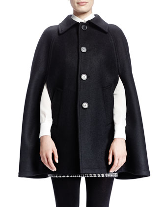 Collared Double-Face Wool Cape, Noir Brilliant