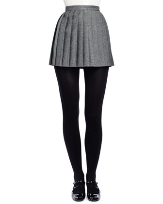 Pleated Wool Miniskirt, Gris Fonce