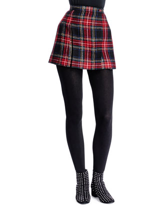 Tartan Plaid Miniskirt, Rouge/Jaune/Bleu
