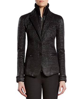 Black Shiny Zip-Front Jacket