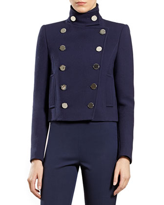Blue Wool Double-Breasted Jacket
