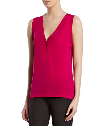 Fuchsia Silk Satin Georgette V-Neck Top