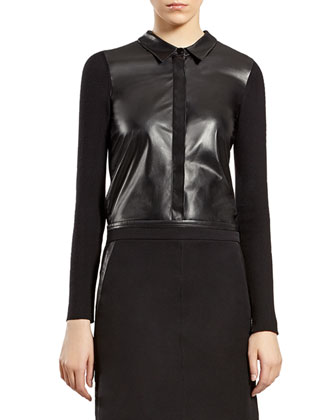 Black Leather Shirt with Knit Back & Military Skirt with Leather Trim ...