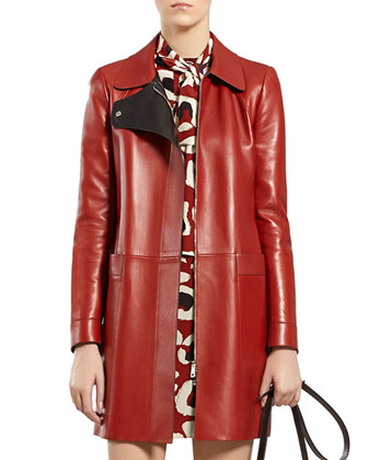 Red Leather Coat & Leopard-Print Crepe de Chine Dress