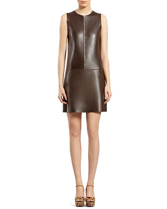 Chocolate Brown Bonded Leather Dress