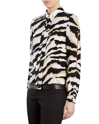 Alpaca Fur Biker Jacket, Tiger-Print Crepe de Chine Shirt & Wool Pants ...