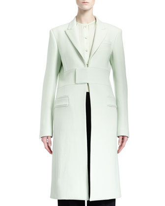 Band-Detail Long Coat, Collarless Silk Charmeuse Blouse, Long-Sleeve Deep-V ...