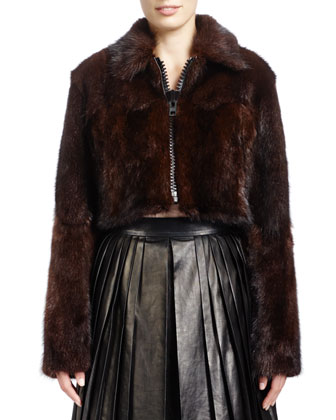Long-Sleeve Cropped Fur Jacket, Brown