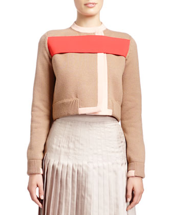 Long-Sleeve Red-Banded Cardigan Jacket, Sleeveless Fine-Rib Cashmere-Silk ...