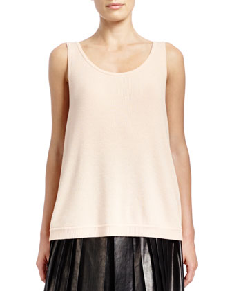 Sleeveless Fine-Rib Cashmere-Silk Sweater Tank, Powder
