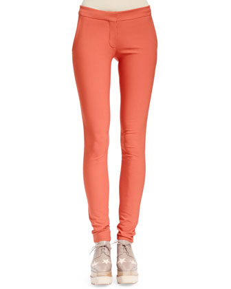 Tiger-Embroidered Split-Back Top & Stretch Cotton Skinny Pants