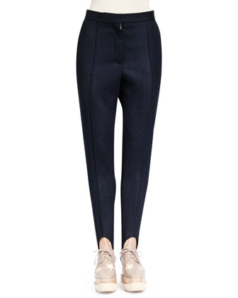 Double-Breasted Zip-Swirl Jacket & Relaxed Narrow-Leg Stirrup Pants