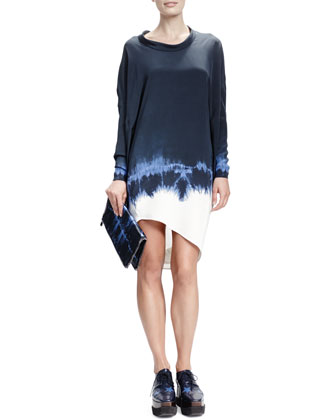 Long-Sleeve Roll-Neck Tie-Dye Dress, Midnight