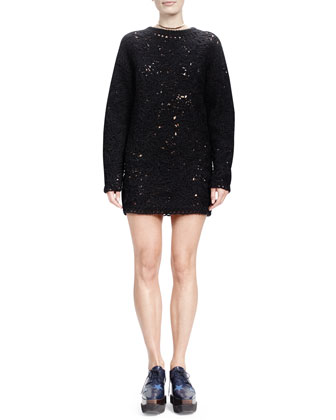 Jewel-Neck Crochet-Embroidered Dress, Black