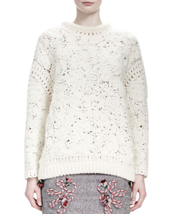 Long-Sleeve Crochet-Embroidered Sweater, Ivory