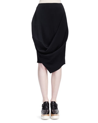 Short-Sleeve Crepe de Chine Silk Top, Draped Crepe Skirt with Folded Bottom ...