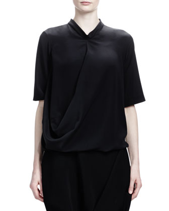 Short-Sleeve Crepe de Chine Silk Top, Black