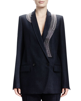 Double-Breasted Zip-Swirl Jacket, Midnight