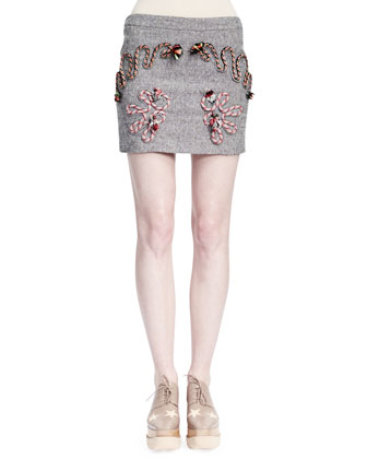 Corded Rope-Applique Tweed Skirt