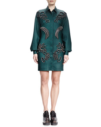 Long-Sleeve Zip-Applique Shirtdress, Emerald