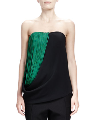 Strapless Cady Top with Folded Fringe