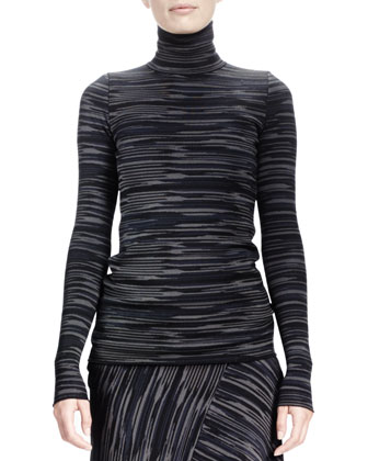 Long-Sleeve Space-Dyed Turtleneck Top