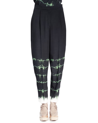 Relaxed-Leg Tie-Dye Pants, Emerald/Multi