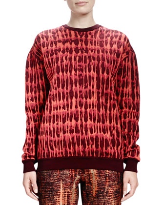 Long-Sleeve Quilted Jacquard Sweatshirt & Slim Tie-Dye Jacquard Pants