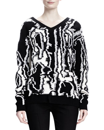 Abstract Shibori Fringe Sweater & Slim-Leg Wool Twill Pants