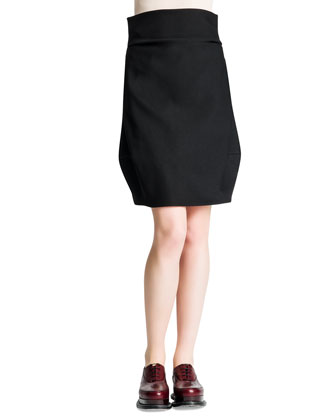 Side-Draped Wide-Banded Tulip Skirt, Black