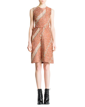 Sleeveless Floral Confetti Dress, Terra Cotta