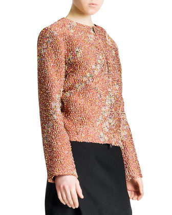 Confetti Floral Boucle Zip Jacket & Side-Draped Wide-Banded Tulip Skirt
