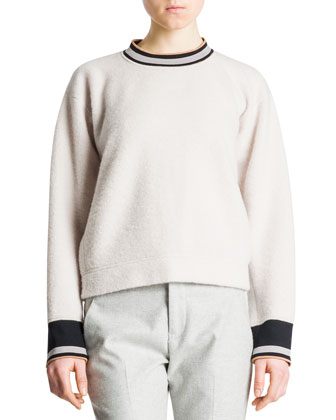 Banded-Trim Boxy Sweater, Ivory