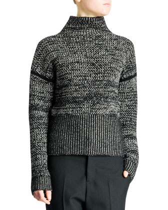 Funnel-Neck Bicolor Tweed Cashmere Sweater & Relaxed-Fit Tech Gabardine Pants