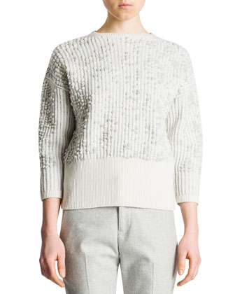 3/4-Sleeve Bubble-Stitch Sweater, Ivory